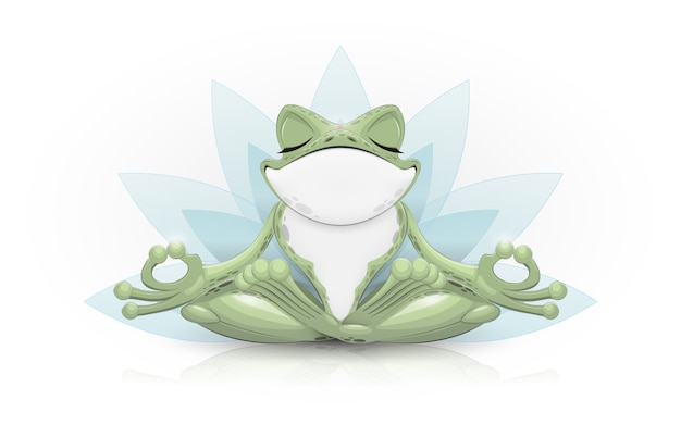 Rana divertida haciendo yoga