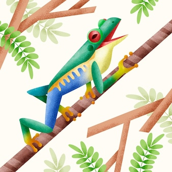 Rana verde ilustrada en su hábitat natural.