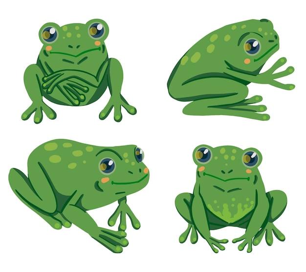 Ranas dibujadas a mano ilustraciones vectoriales. colección colorida en estilo escandinavo. cliparts abstractos de los animales del reptil de la historieta aislados en el fondo blanco.