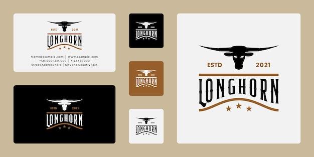 Rancho de cuernos largos vintage, búfalo, diseño de logotipo de vaca tarjeta de visita de ingenio retro