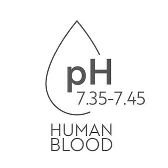 Rango de ph en sangre humana. tabla de ilustración médica y escala. diagrama ácido, normal, alcalino.