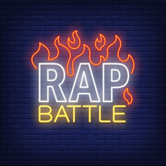 Rap batalla texto de neón y fuego. letrero de neón, anuncio brillante noche