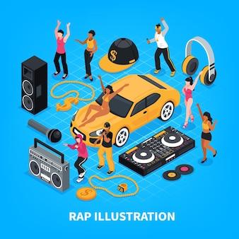 Rap isométrico con cantantes intérpretes amplificador de sonido auriculares radio grabadora cintas decorativas