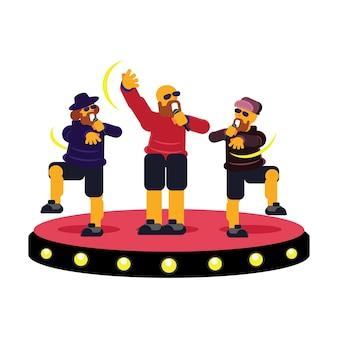 Rapero colorido grupo de trío en el escenario