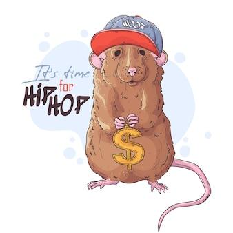 Rapero rata dibujada a mano con accesorios.