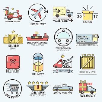 Rápido servicio de entrega gratis transportes logo set