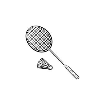 Raqueta de bádminton y volante icono de doodle de contorno dibujado a mano. raqueta y volante para ilustración de dibujo de vector de bádminton para impresión, web, móvil e infografía aislado sobre fondo blanco.