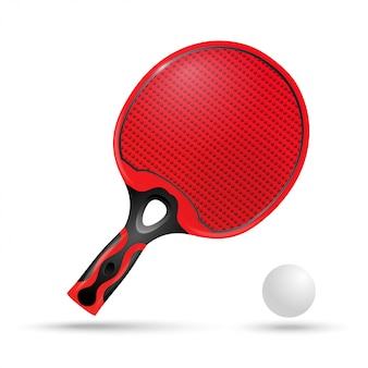 Raqueta roja para ping-pong y pelota.