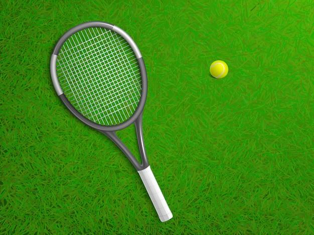 Raqueta de tenis y pelota tirado en el césped de la corte césped verde