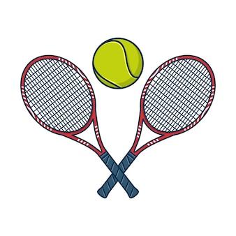 Raquetas de tenis cruzadas y bola aislado sobre fondo blanco.