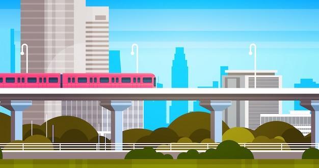 Los rascacielos de la ciudad moderna ven el panorama urbano con la ilustración urbana del tren subterráneo