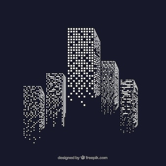 Rascacielos con ventanas iluminadas