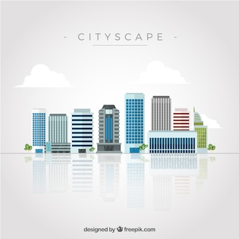 Rascacielos en diseño plano