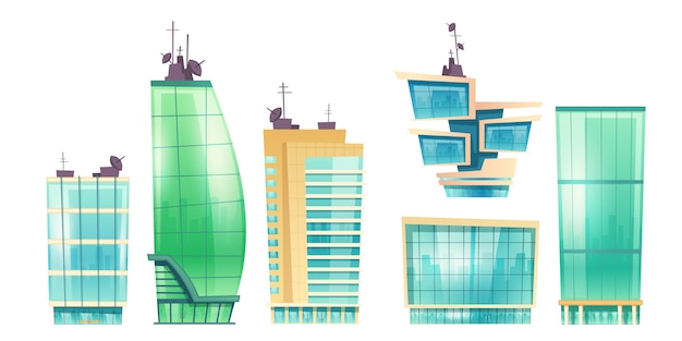 Rascacielos vectoriales, edificios de oficinas modernos
