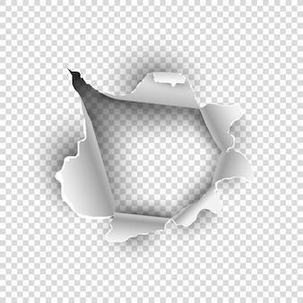 Rasgado de papel o hoja de textura sobre fondo transparente.