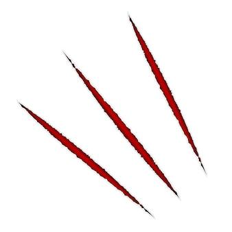 Rasguño de papel de vector. aislado con rojo.