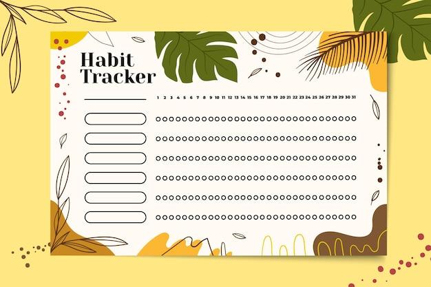 Rastreador de hábitos con fondo tropical