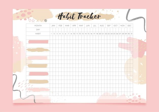 Rastreador de hábitos con formas pastel