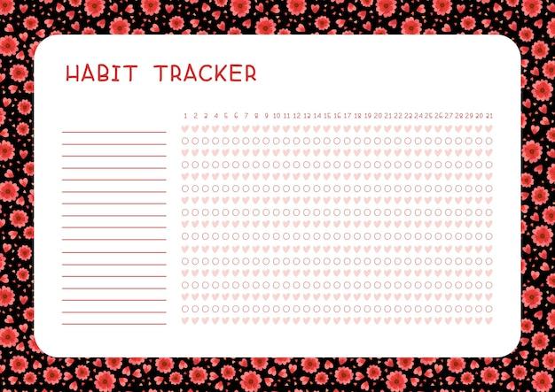 Rastreador de hábitos para la página del planificador de plantillas de mes con flores rojas y corazones sobre fondo negro