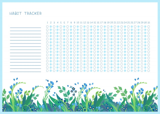 Rastreador de hábitos para la plantilla de vector plano de mes. primavera flores silvestres temáticas en blanco, organizador personal con marco decorativo. borde floral de temporada de verano con letras estilizadas