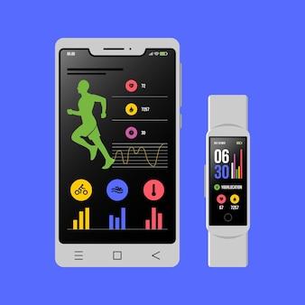 Rastreadores de fitness de diseño plano