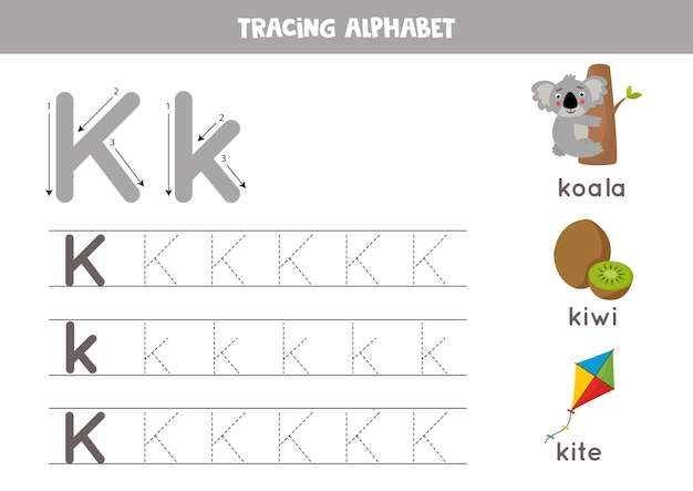 Rastreando todas las letras del alfabeto inglés. actividad preescolar para niños. escribiendo la letra mayúscula y minúscula k. linda ilustración de koala, kiwi, cometa. hoja de trabajo imprimible.