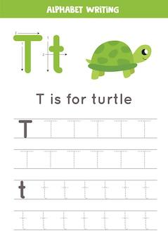 Rastreando todas las letras del alfabeto inglés. actividad preescolar para niños. escribiendo la letra t mayúscula y minúscula. linda ilustración de tortuga. hoja de trabajo imprimible.