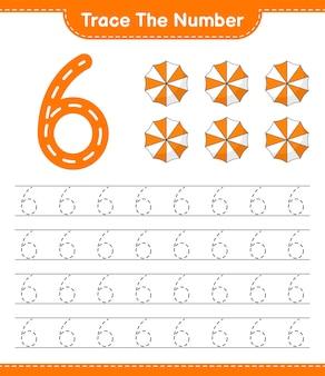 Rastrear el número número de rastreo con la hoja de trabajo imprimible del juego educativo para niños beach umbrella
