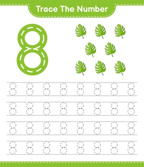 Rastrear el número número de rastreo con la hoja de trabajo imprimible del juego educativo para niños monstera