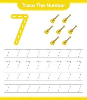 Rastrear el número número de rastreo con la hoja de trabajo imprimible del juego educativo para niños ukulele
