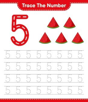 Rastrear el número número de rastreo con la hoja de trabajo imprimible del juego educativo sandía para niños