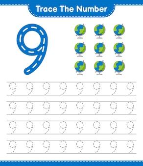 Rastrear el número número de rastreo con la hoja de trabajo imprimible del juego globe educational para niños