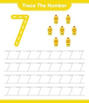 Rastrear el número número de rastreo con protector solar hoja de trabajo imprimible del juego educativo para niños