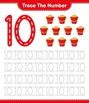 Rastrear el número número de rastreo con sand bucket hoja de trabajo imprimible del juego educativo para niños