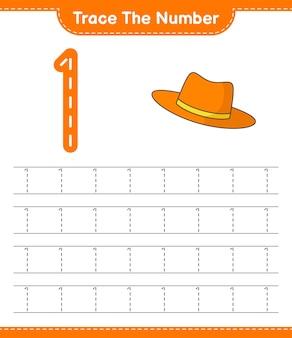 Rastrear el número número de rastreo con sombrero de verano hoja de trabajo imprimible del juego educativo para niños