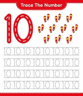 Rastrear el número rastrear el número con flip flop hoja de trabajo imprimible del juego educativo para niños