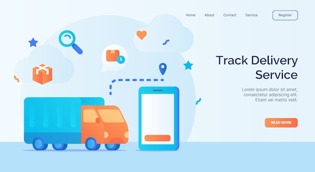 Rastree el camión de rastreo del servicio de entrega utilizando la campaña de iconos de aplicaciones de teléfonos inteligentes para el banner de plantilla de aterrizaje de la página de inicio del sitio web con diseño vectorial de estilo plano de dibujos animados