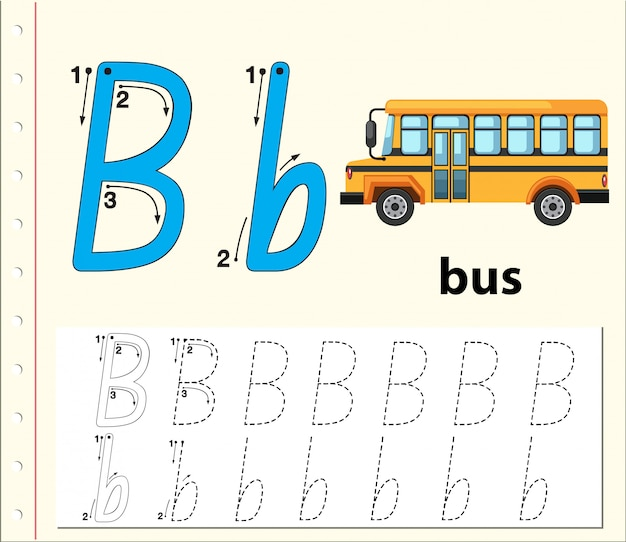 Rastreo de letras b hojas de ejercicios del abecedario