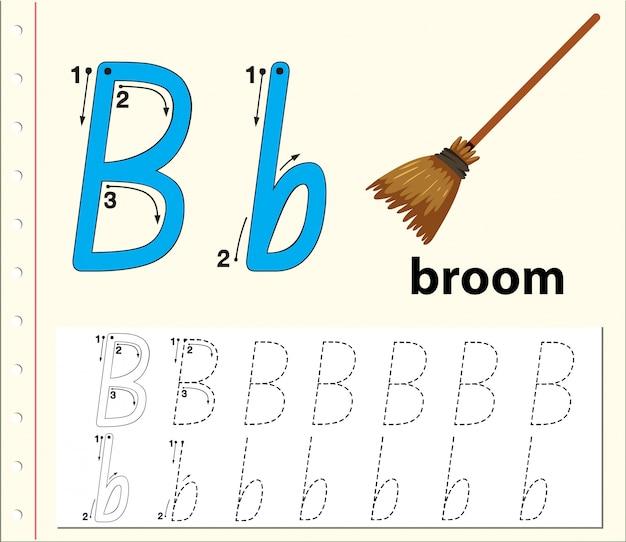 Rastreo de letras b hojas de trabajo del abecedario
