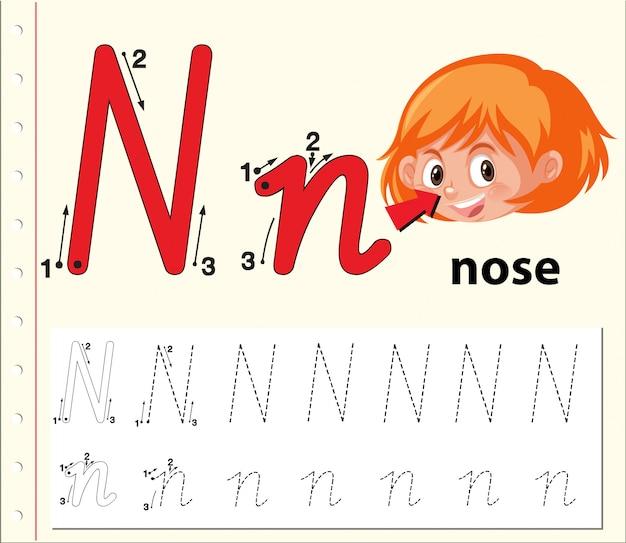 Rastreo de letras n hojas de trabajo del abecedario