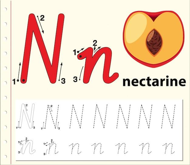 Rastreo de letras n hojas de trabajo del alfabeto