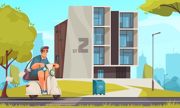 Rastreo de mensajería de motocicleta y seguimiento de envío posterior a la entrega en la ilustración de dibujos animados de la ciudad moderna