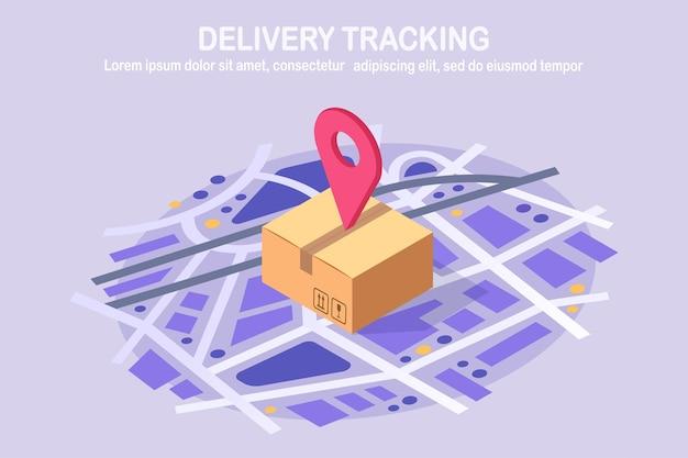 Rastreo de orden. paquete isométrico con pin, puntero en el mapa. envío de caja, paquete, transporte de carga.