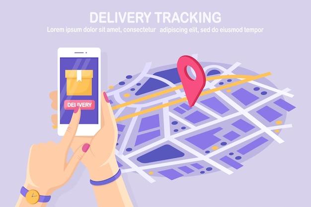 Rastreo de orden. teléfono móvil isométrico con aplicación de servicio de entrega.