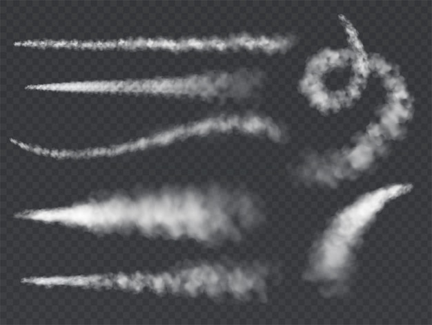 Rastro de humo plano. jet tracks avión blanco humo despegue nube vapor cielo estela de vapor cohete condensación conjunto final