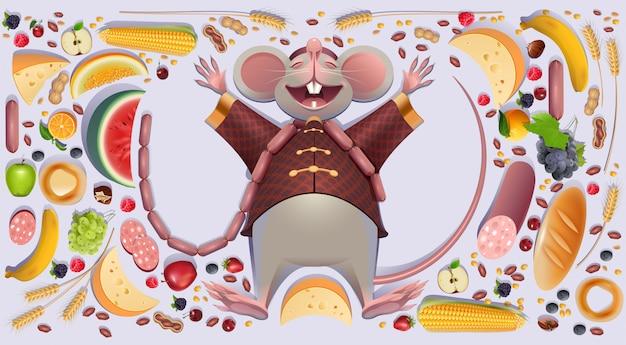 La rata gorda del ratón está descansando extendiendo patas.