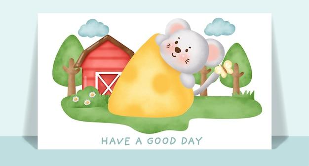 Rata linda acuarela en la granja para la tarjeta de felicitación.