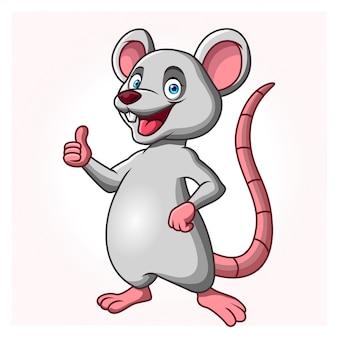 Una rata o ratón de dibujos animados está de pie dando un pulgar hacia arriba.