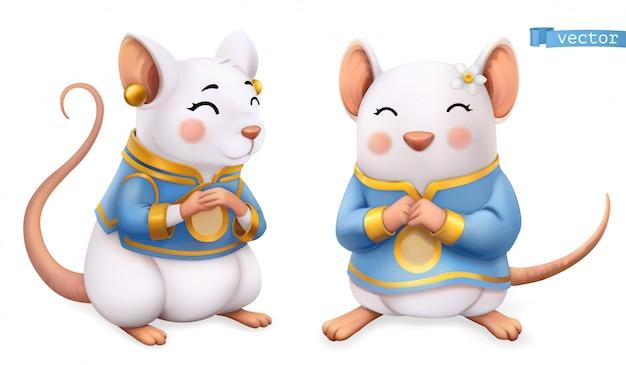 Rata, ratón, animal gracioso en el zodiaco chino, calendario chino, icono 3d