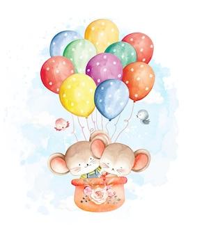 Ratón acuarela volando con globos